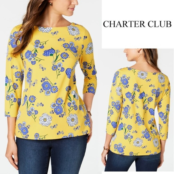 Charter Club Tops - Charter Club Floral-Print Boat-Neck Top XS